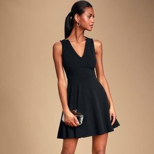 NWT Lulu's Garcia Black Sleeveless Skater Dress